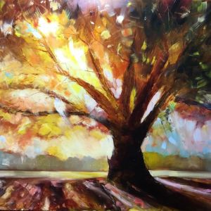 Tree Sunset with oil by Bob Deller