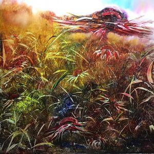 Landscape by Bob Deller rainbow colours with oil