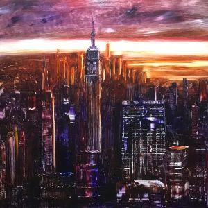 city scape with oil by Bob Deller